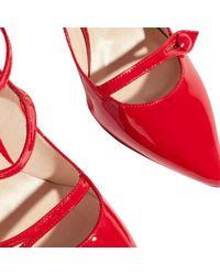Karen Millen - Red Mary Jane Triple Strap Court Shoes - Lyst