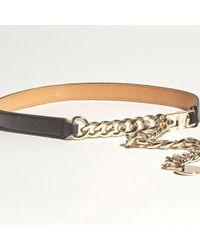 Karen Millen - Black O Ring Chain And Leather Belt - Lyst