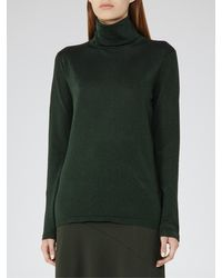 Reiss Green Sassy Sparkle Roll Neck Top