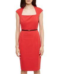 Ted Baker Red Square Neck Belted Dress