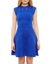 Ted Baker | Blue Zaralie Jacquard Cut-out Dress | Lyst