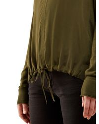 Jigsaw Green Silk Front Drawstring Jumper