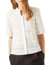 Jigsaw White Broderie Cotton Shirt