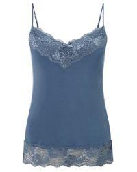 Jigsaw Blue Modal Lace Trim Vest