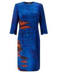 Jigsaw Blue Palm House Funnel Neck Dress