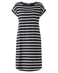 Jigsaw Cotton T Shirt Breton Short Sleeve Dress In Navy