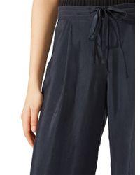 Jigsaw Blue Curved Hem Cupro Trousers