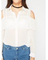 Miss Selfridge White Frill Cold Shoulder Shirt
