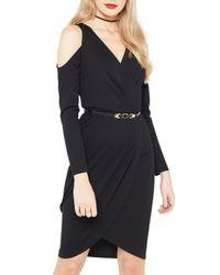 Miss Selfridge Black Cold Shoulder Wrap Dress