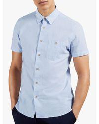 Ted Baker Blue Teryaki Micro Stripe Shirt for men
