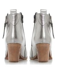 Dune Gray Pontoon Stacked Heel Ankle Boots