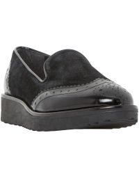Dune Garner Slipper Black Flatform Loafers