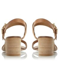Dune Brown Wide Fit Jany Buckle Block Heeled Sandals
