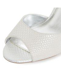 Dune Metallic Kasino Cross Strap Wedge Sandals