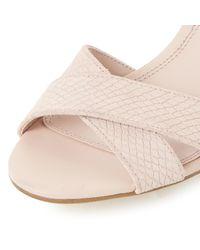 Dune Pink Imelda Block Heeled Cross Strap Sandals