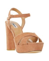 d78b17f8e791 Dune Mexico Platform Block Heeled Sandals in Natural - Lyst