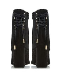 Dune Black Octagon Block Heeled Ankle Boots