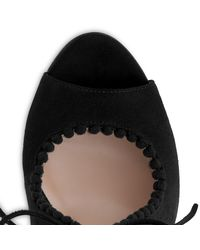 L.K.Bennett Black Ellena Tie Peep Toe Sandals