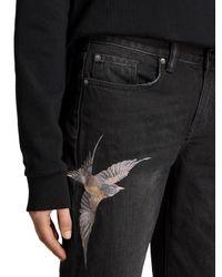 AllSaints Black Birds Embroidery Cropped Frayed Boyfriend Jeans