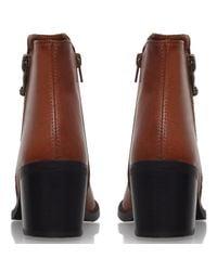 Carvela Kurt Geiger Brown Skim Mid Heel Side Zip Ankle Boots
