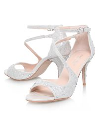 Carvela Kurt Geiger Metallic Gamma Asymmetric Embellished Stiletto Sandals
