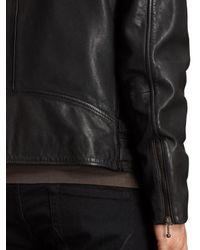 AllSaints Black Parker Leather Biker Jacket for men