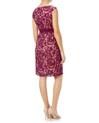 Adrianna Papell Red Lace Cap Sleeve Sheath Dress