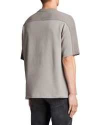 AllSaints Gray Harlston Crew Neck T-shirt for men