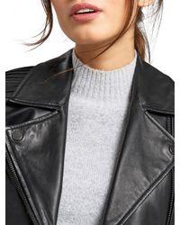 Oasis Black Pleated Biker Jacket