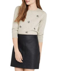 Oasis   Gray Bee Embellished Crew Neck Jumper   Lyst
