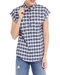 Oasis Blue Check Roll Sleeve Shirt