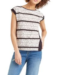 Oasis - Gray Floral Wiggle Lace Stripe T-shirt - Lyst