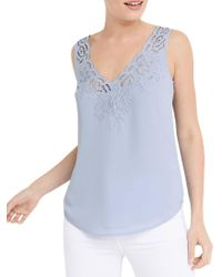 Oasis Blue Scallop Embroidered Vest Top