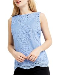 Oasis Blue Deco Lace Shell Top