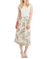Oasis Multicolor Spring Print Lace Bardot Dress