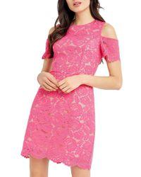 Oasis | Pink Lace Cold Shoulder Dress | Lyst