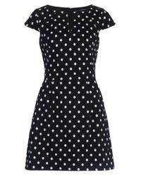 French Connection | Black Dotty Spot Cotton Dress | Lyst