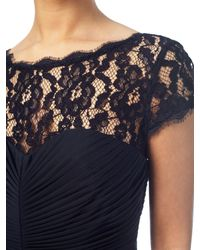 Adrianna Papell Blue Lace Bodice On Draped Skirt Gown