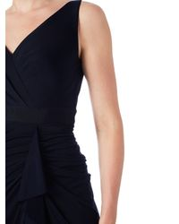 Adrianna Papell Blue Draped Venetian Jersey Gown