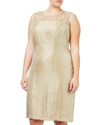 Adrianna Papell Natural Plus Size Shimmer Sheath Dress And Embroidered Lace Coat