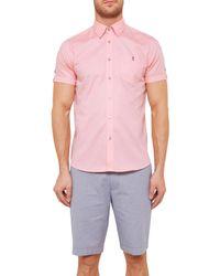 Ted Baker Pink Wooey Textured Cotton Short Sleeve Shirt for men