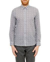 Ted Baker Blue Toright Floral Print Cotton Linen Shirt for men