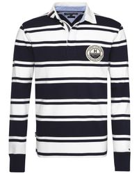 Tommy Hilfiger | Blue Long Sleeve Striped Rugby Shirt for Men | Lyst