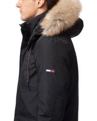 Hilfiger Denim Black Technical Cotton-blend Parka Coat for men