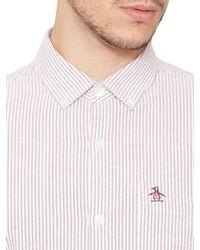 Original Penguin Pink Oxford Stripe Long Sleeve Shirt for men