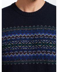 John Lewis - Blue Fair Isle Chest Pattern Jumper for Men - Lyst