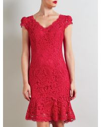 Bruce By Bruce Oldfield Pink Lace Fluted Hem Dress