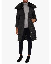 Phase Eight Black Malina Faux Fur Hood Puffer Coat