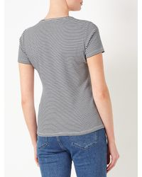 John Lewis Blue Crew Neck Stripe T-shirt