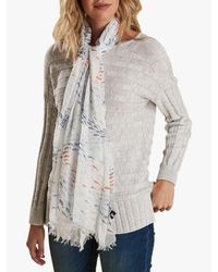 Barbour Blue Schooling Fish Print Scarf